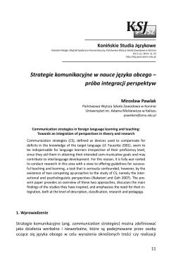 Strategie komunikacyjne w nauce języka obcego – próba integracji