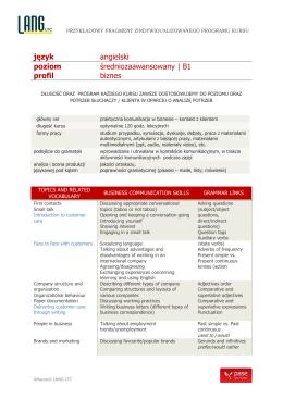 język angielski poziom średniozaawansowany | B1 profil biznes