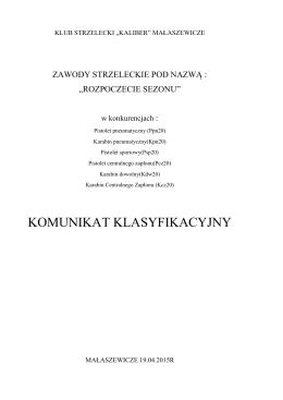Komunikat - klub strzelecki kaliber