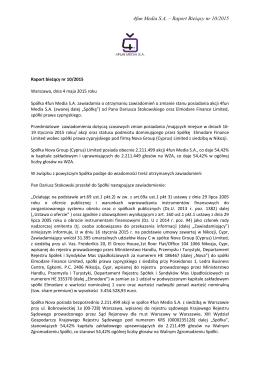 Raport Bieżący nr 10/2015
