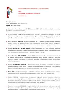 Komunikat Komisji Artystyczno-Konsultacyjnej