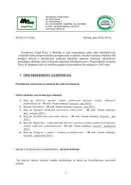 1. opis przedmiotu zamówienia - Powiatowy Urząd Pracy w Rybniku