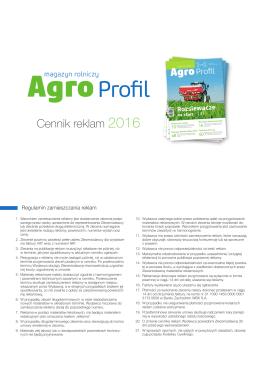 Cennik reklam 2016 - Magazyn rolniczy Agro Profil