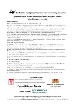 Program konferencji.
