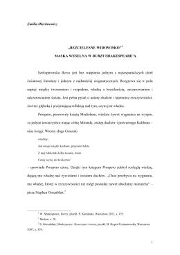 """Emilia Olechnowicz, Maska weselna w """"Burzy"""""""