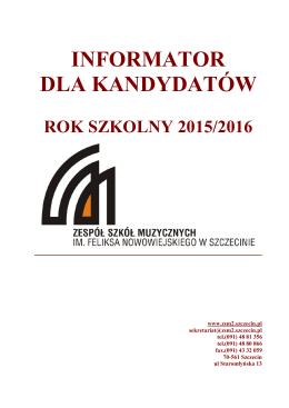 informator dla kandydatów - Zespół Szkół Muzycznych w Szczecinie