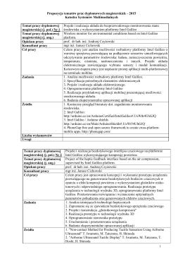 Propozycje tematów prac dyplomowych magisterskich