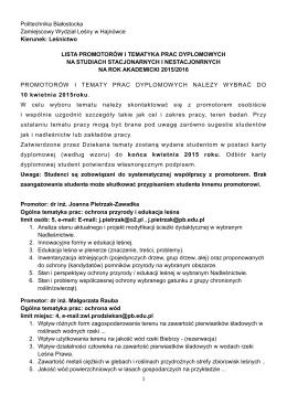 Tematy prac dyplomowych 2015/2016