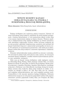 wpływ budowy kanału odra-dunaj-łaba na polską i europejską