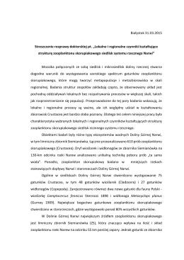 """Białystok 31.03.2015 Streszczenie rozprawy doktorskiej pt. """"Lokalne"""