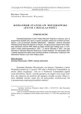 Komandor Stanisław Mieszkowski – życie i działalność