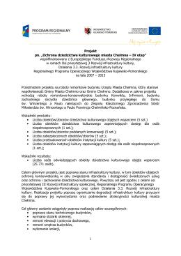 Ochrona dziedzictwa kulturowego miasta Chełmna – IV etap