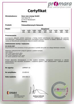 Certyfikat - KACO new energy