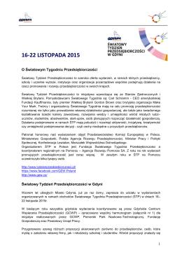Informacja o Światowym Tygodniu Przedsiębiorczości w Gdyni