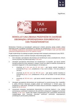 TAX ALERT - BSWW legal & tax
