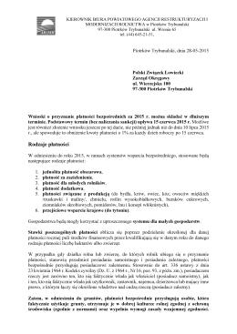 informacja ARiMR - Zarząd Okręgowy w Piotrkowie Trybunalskim