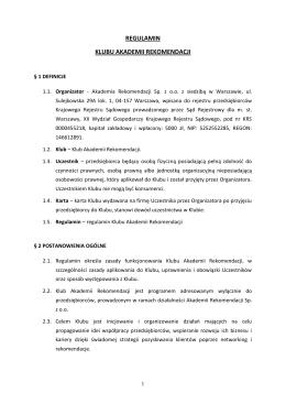 REGULAMIN - Akademia Rekomendacji