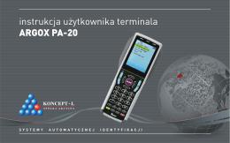 instrukcja użytkownika terminala ARGOX PA-20 - Koncept-L