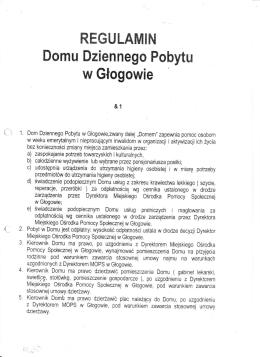 Regulamin Domu Dziennego Pobytu w Głogowie