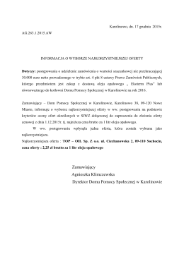 Zamawiający Agnieszka Klimczewska Dyrektor Domu Pomocy