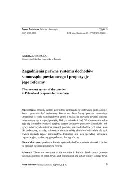 Zagadnienia prawne systemu dochodów samorządu powiatowego i
