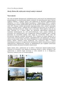 Dachy Zielone dla zwiększenia retencji wodnej w