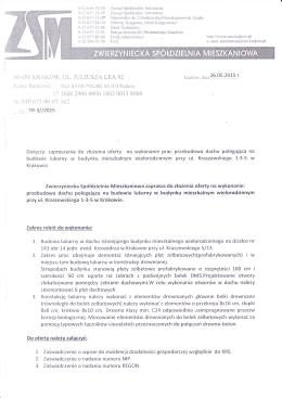 Kraszewskiego - lukarna - zapytanie ofertowe