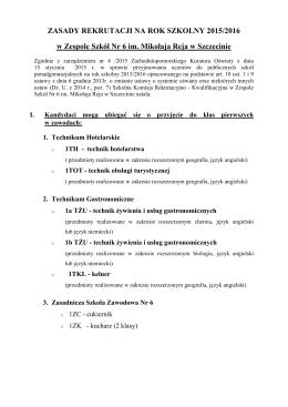 Zasady rekrutacji 2015/2016
