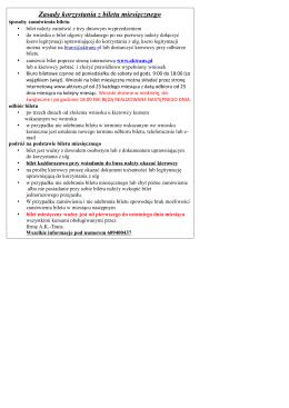 Zasady korzystania z biletu miesięcznego