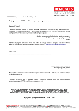 Dotyczy: Dostarczania KPO oraz faktury za pomocą poczty