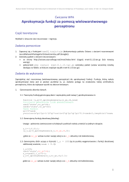 Aproksymacja funkcji za pomocą wielowarstwowego perceptronu