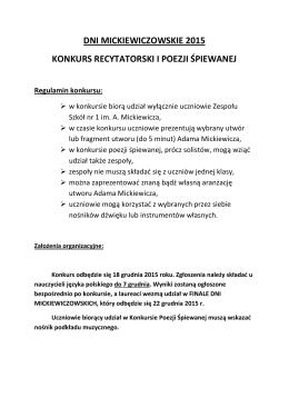 regulamin, konkursy - ZS nr 1 im. Adama Mickiewicza w Lublińcu