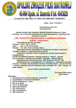 XIX Grand Prix Opolszczyzny w siatkówce plażowej kobiet i mężczyzn