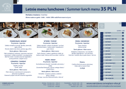 Letnie menu lunchowe / Summer lunch menu35 PLN