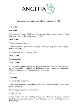 Harmonogram 6 dniowego intensywnego kursu FDM