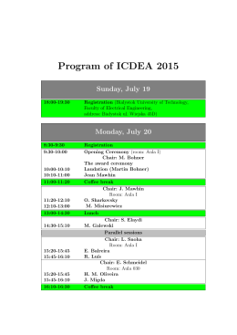 Program of ICDEA 2015 Sunday, July 19