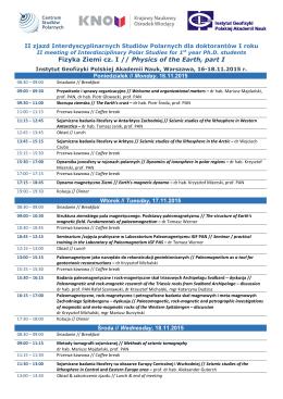 Program II zjazdu dla doktorantów I roku Interdyscyplinarnych