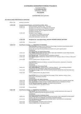 program kongresu - Spotkania z Zabytkami