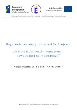 """Regulamin rekrutacji uczestników projektu """"Wzrost mobilności i"""