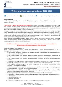 Wybór ławników na nową kadencję 2016-2019