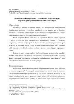 Filozoficzne podstawy karania - Wydział Prawa i Administracji