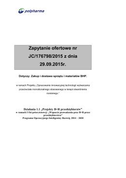 Zapytanie ofertowe nr JC/176798/2015 z dnia 29.09