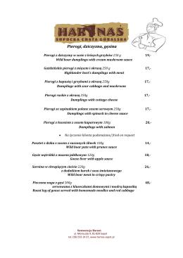 menu - Harnaś