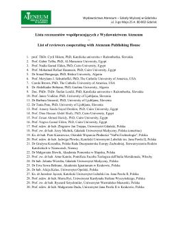 Lista recenzentów współpracujących z Wydawnictwem Ateneum