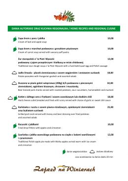 Dania autorskie oraz kuchnia regionalna