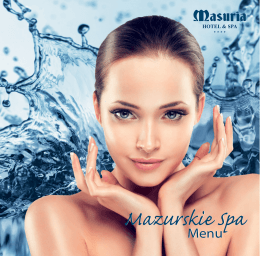 Menu SPA - Hotel Masuria