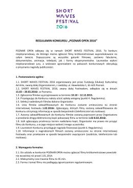 "REGULAMIN KONKURSU ""POZNAŃ OPEN 2016"""