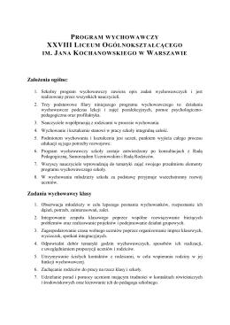 Program wychowawczy - XXVIII LO imienia Jana Kochanowskiego