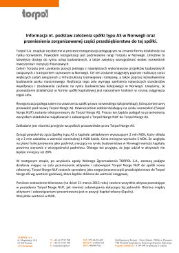 Informacja nt. podstaw założenia spółki typu AS w Norwegii