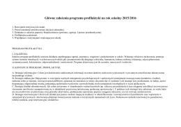Główne założenia programu profilaktyki na rok szkolny 2015/2016